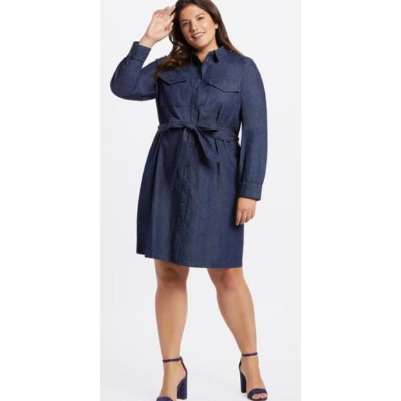 Draper James Dresses & Skirts - Draper James Chambray Denim Shirt Dress 20 C945